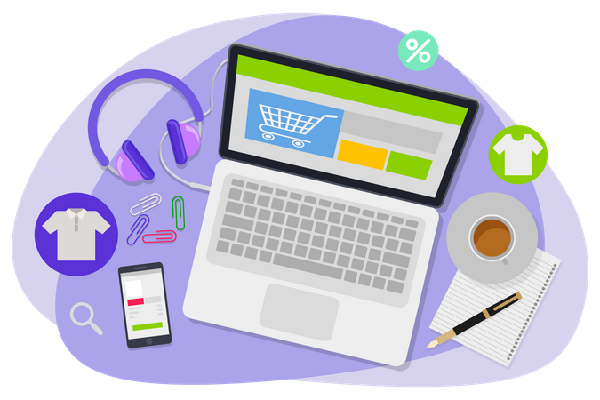 Shopping on laptop with headphones, mobile, pen paper and coffee Illustration
