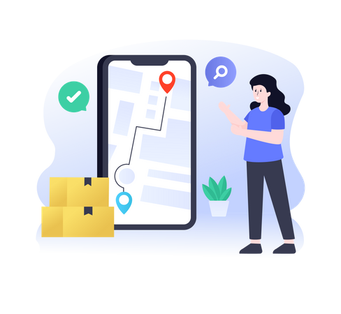 Shopping Order Delivery Tracking Illustration