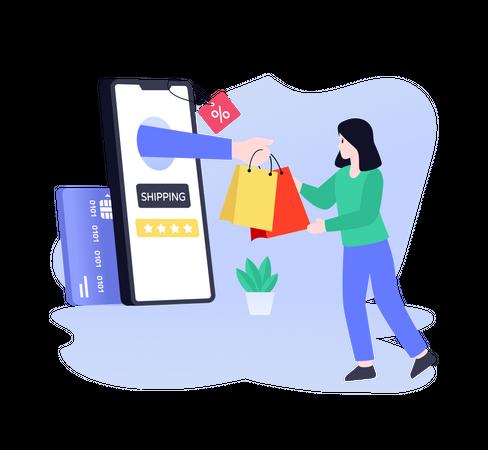 Shopping Order Shipping Illustration