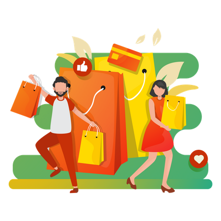 Shopping Sale - Happy woman and man with shopping bags Illustration