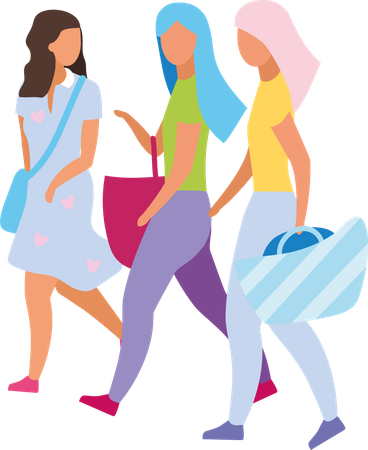 Shopping with friends Illustration