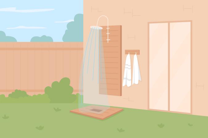 Showering outdoors Illustration