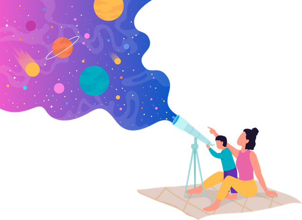 Showing your children interesting things in outer space Illustration