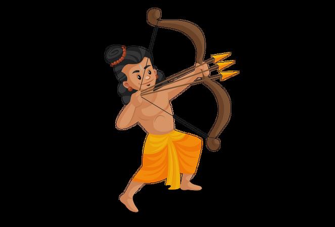 Shree Ram firing three arrows Illustration