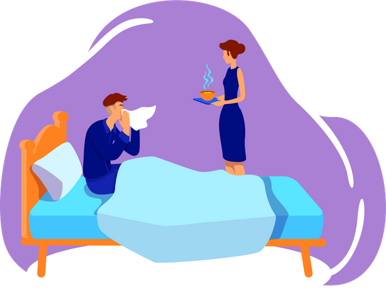 Sick husband and caring wife Illustration