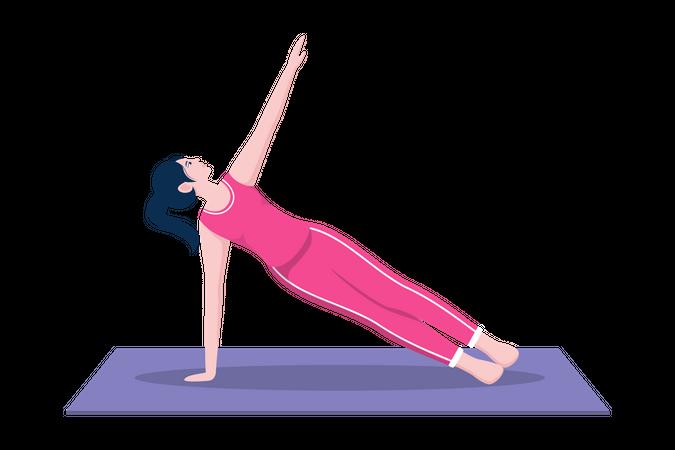 Side plank pose Illustration