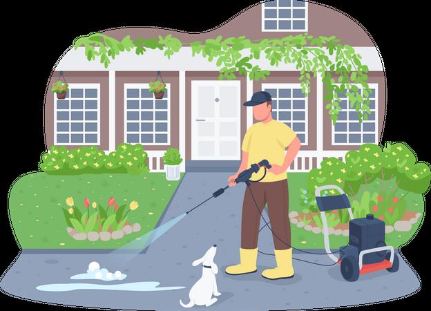 Sidewalk cleaning with power wash gun Illustration