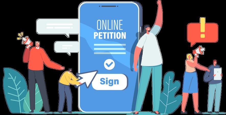 Sign Online Petition Illustration