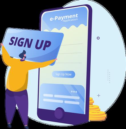Sign up or registration to e-payment application Illustration