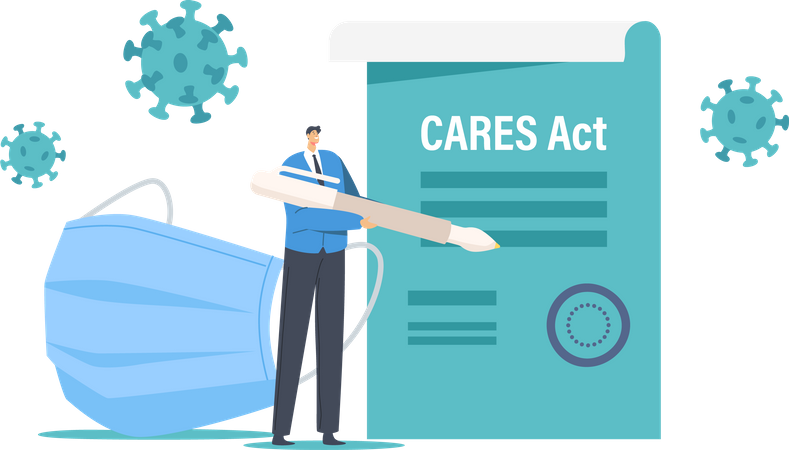 Signing Cares Act for Loan Forgiveness Illustration