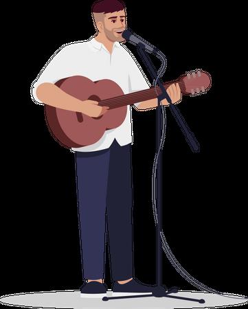 Singer singing song with guitar Illustration