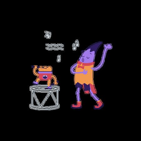 Singing class Illustration