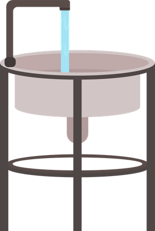 Sink with running water Illustration