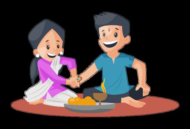 Sister celebrating Raksha bandhan with brother Illustration