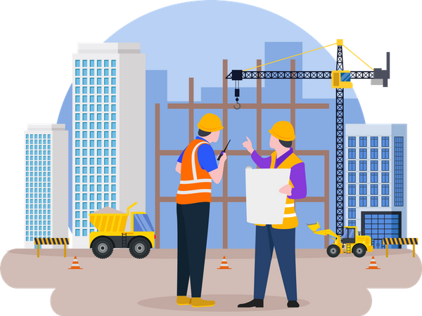 Site manager doing discussion Illustration