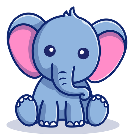 Sitting baby elephant Illustration