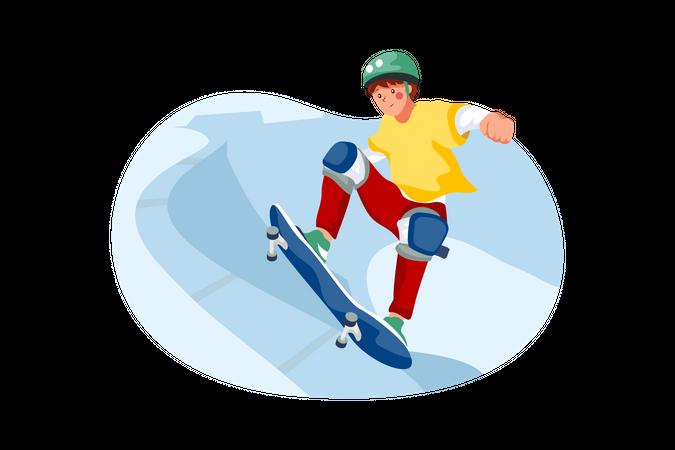 Skater doing skateboarding Illustration