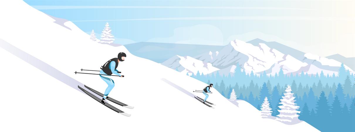 Ski resort holiday Illustration