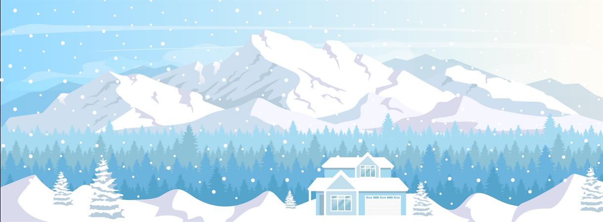Ski resort house Illustration