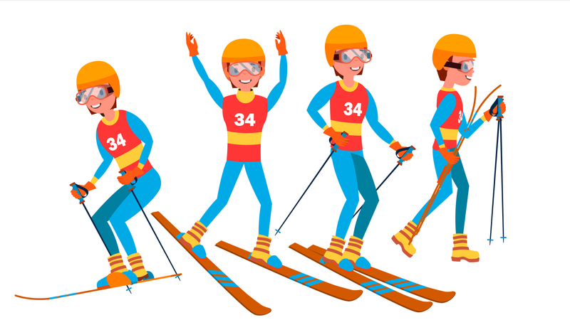 Skiing Male Player Illustration