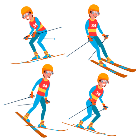 Skiing Player Male Illustration