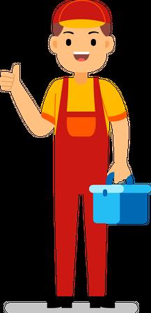 Skilled worker holding tool box Illustration