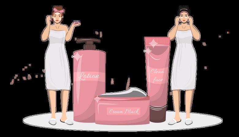 Skincare routine Illustration