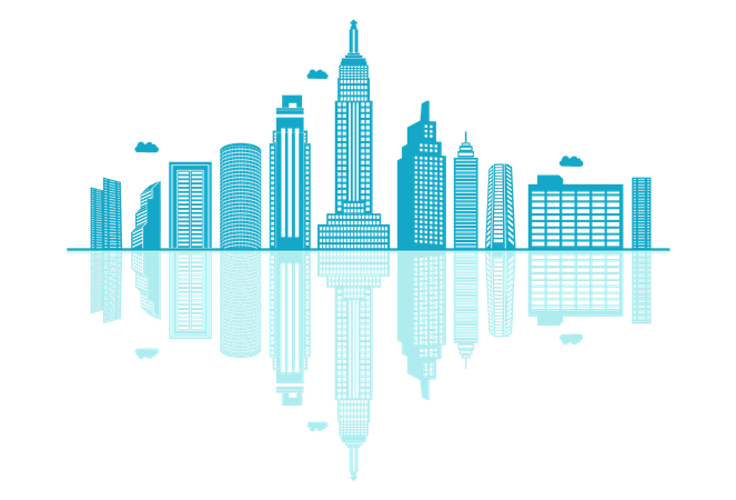 Skyline silhouette with reflections Illustration