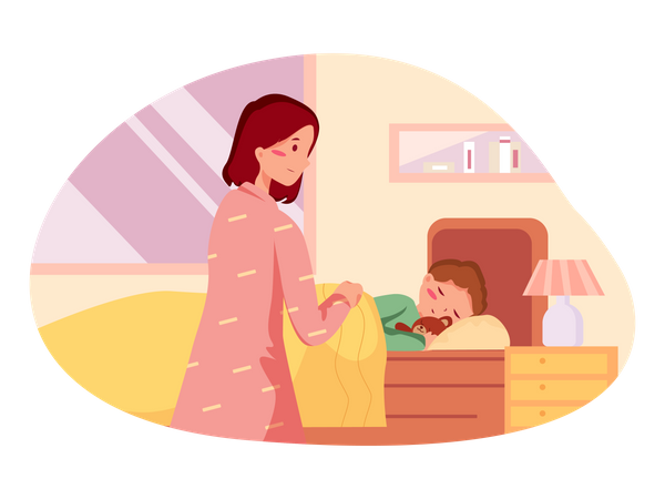Sleeping baby in the bed Illustration