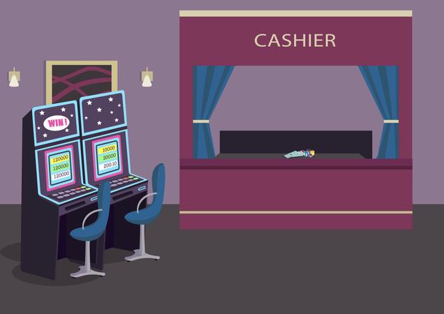 Slot machines row Illustration
