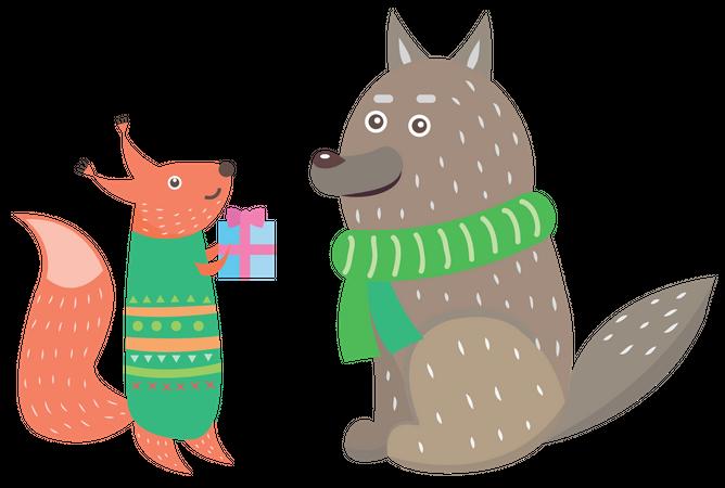 Small Animal Giving Gift to Another animal on Christmas Illustration