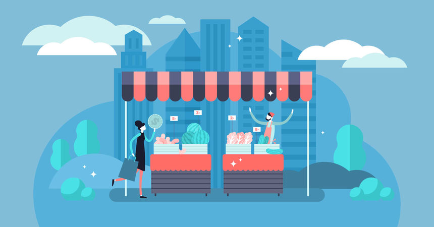 Small business with commerce profit and earnings from product sell service Illustration
