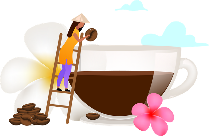 Small family coffee business Illustration