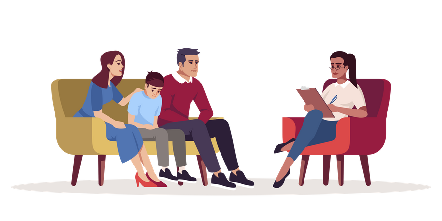 Small family communicating with specialist Illustration