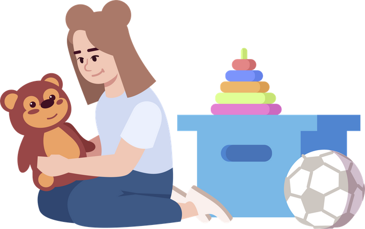 Small girl playing with toys Illustration