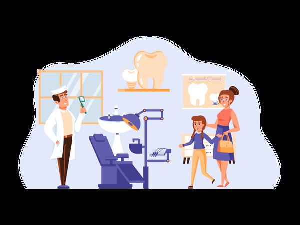 Small girl visiting Dentist Illustration