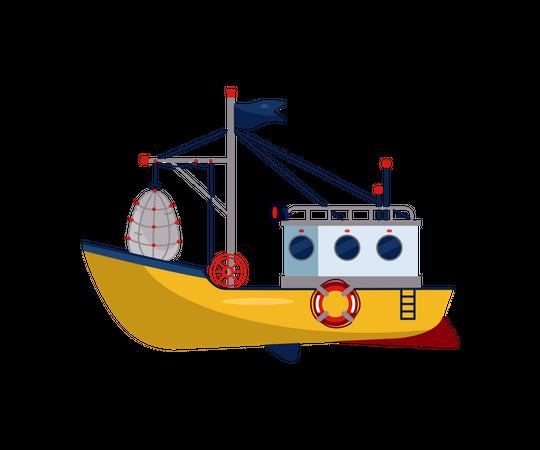 Small marine ship Illustration