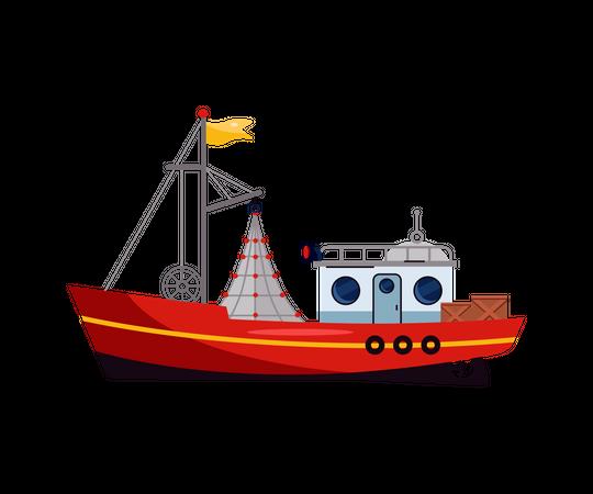 Small marine ship, sea or ocean fish boat Illustration