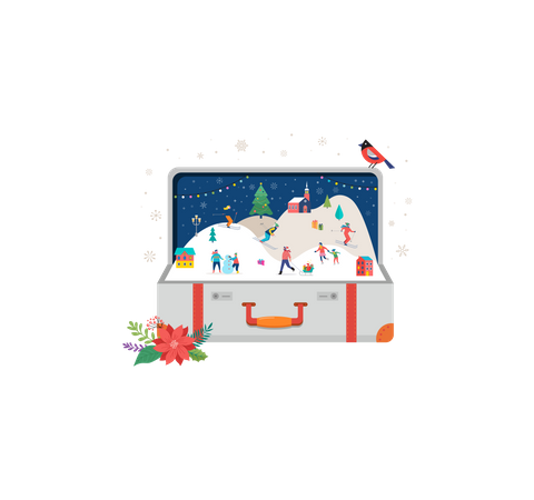 Small people, young men and women, families having fun in snow, skiing, snowboarding, sledding, ice skating Illustration