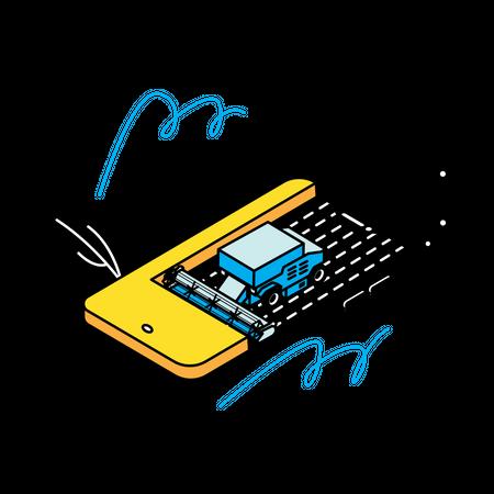Smart agriculture mobile app Illustration