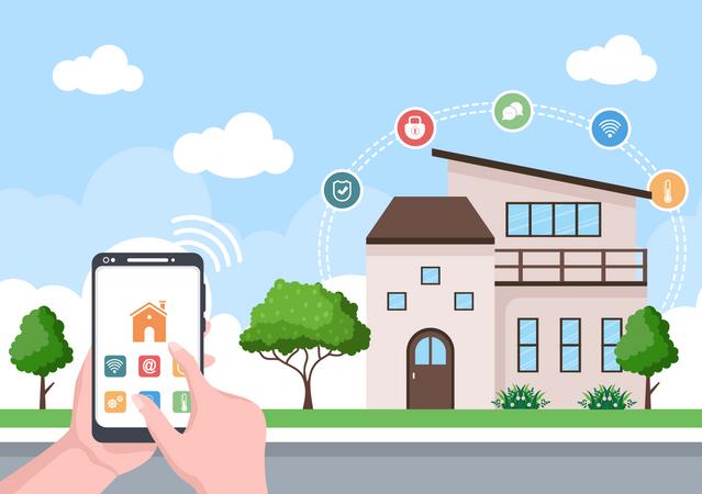 Smart app controlling smart home Illustration