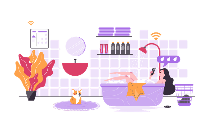 Smart Bathroom Illustration
