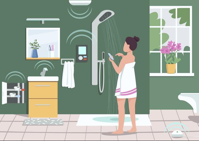 Smart bathroom appliances Illustration