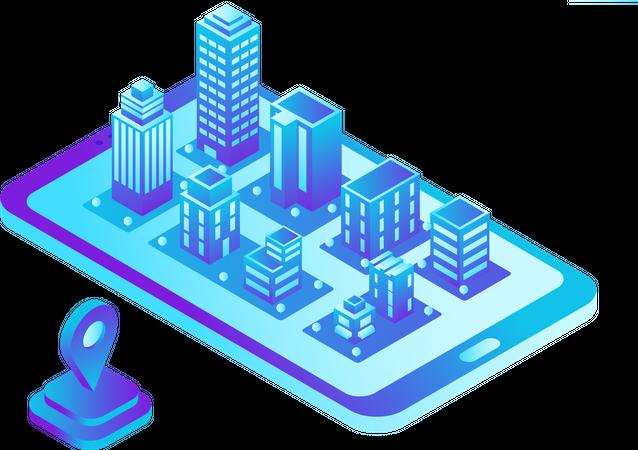 Smart City Map in Mobile Phone Navigation Illustration