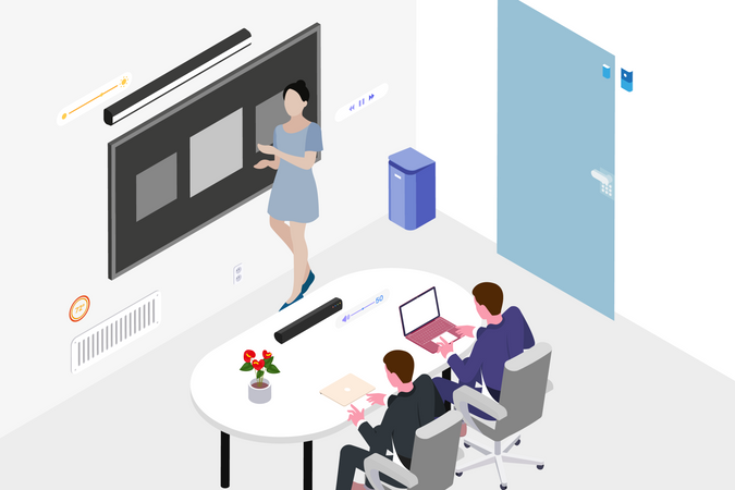 Smart classroom concept in isometric Illustration