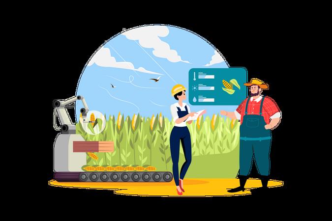 Smart farming technology Illustration