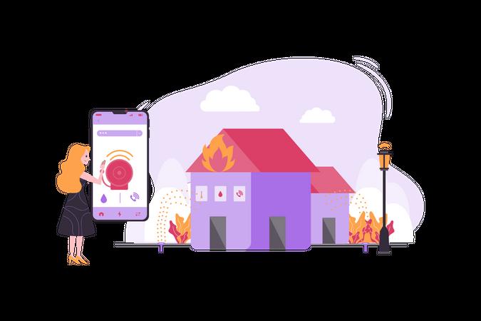 Smart fire safety Illustration