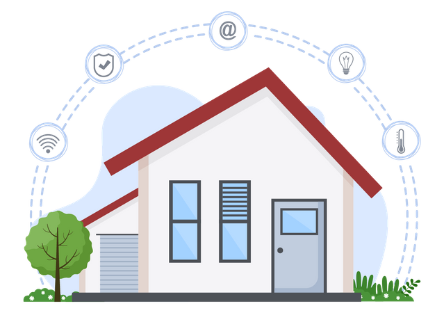 Smart home property with modern equipment Illustration