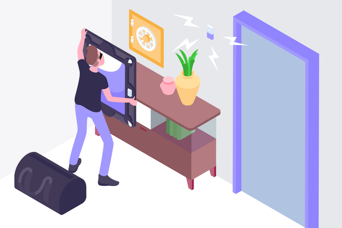 Smart home with security concept Illustration