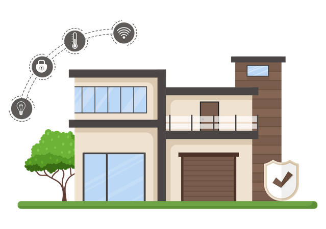 Smart home with smart security technology Illustration